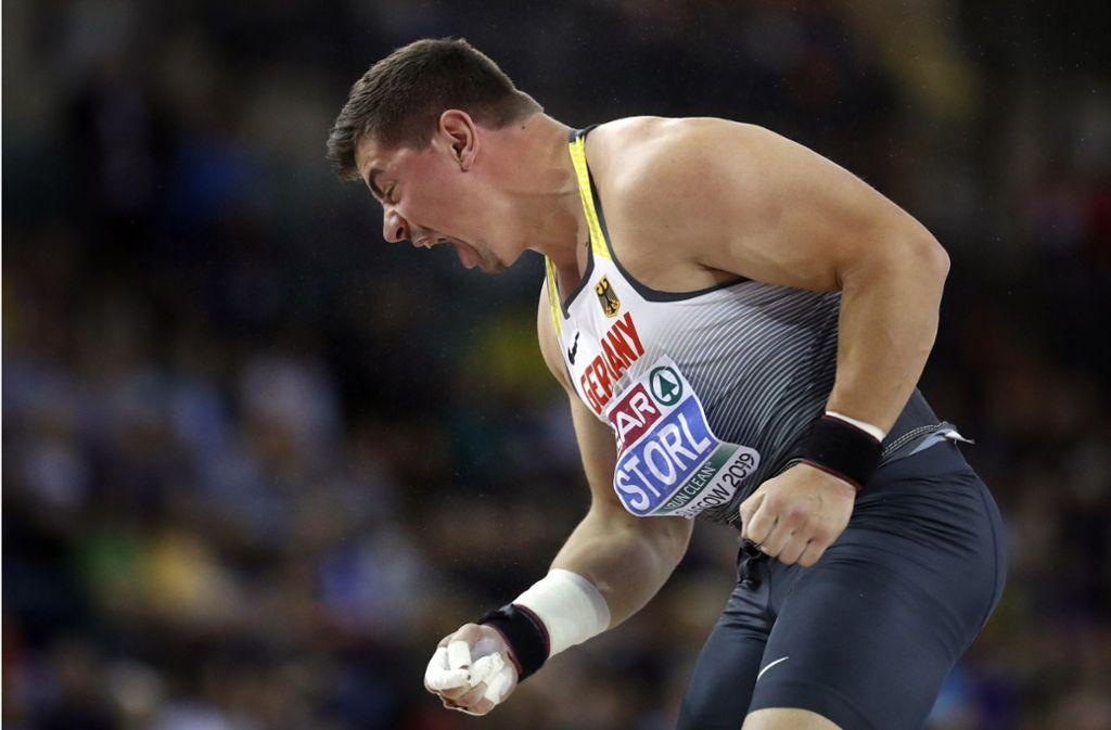 David Storl freut sich bei der Hallen-EM über Silber. Foto: AP
