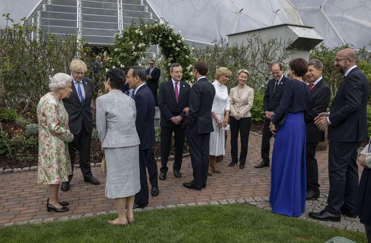 Empfang der Queen im Rahmen des G7-Gipfels im englischen Cornwall. Foto: dpa/Jack Hill