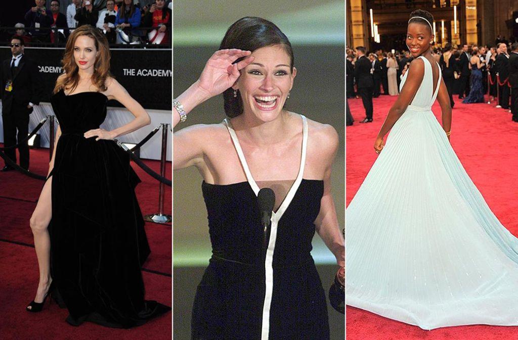 Drei unvergessliche Oscar-Looks (von links): Angelina Jolie in Versace, Julia Roberts in Valentino und Lupita Nyong'o in Prada. Foto: dpa/AP