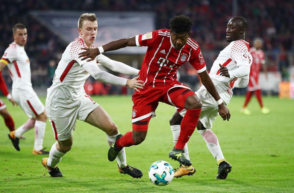 Der FC Bayern München um David Alaba gewinnt gegen den RB Leipzig. Foto: Bongarts