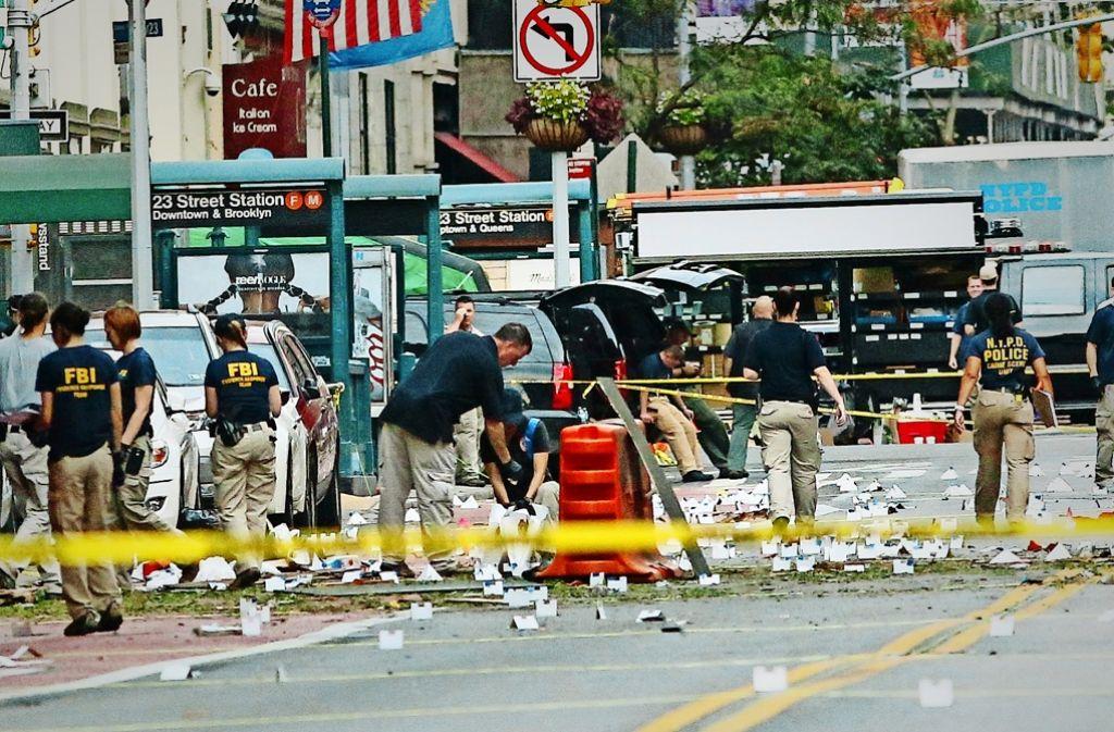 Am Anschlagsort im New Yorker Stadtteil Chelsea sind 29 Menschen verletzt worden. Foto: AFP