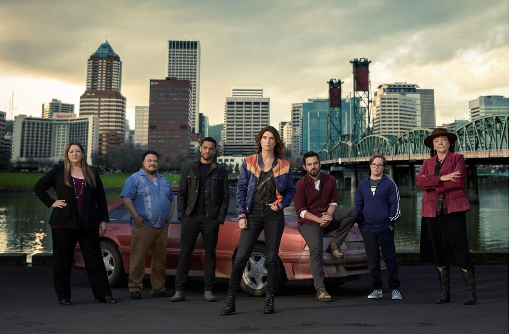 Privatdetektivin in Hipstertown: Cobie Smulders (Mitte) nimmt als Dex Parios in Portland, Oregon, Aufträge entgegen. Foto: ABC/Matthias Clamer