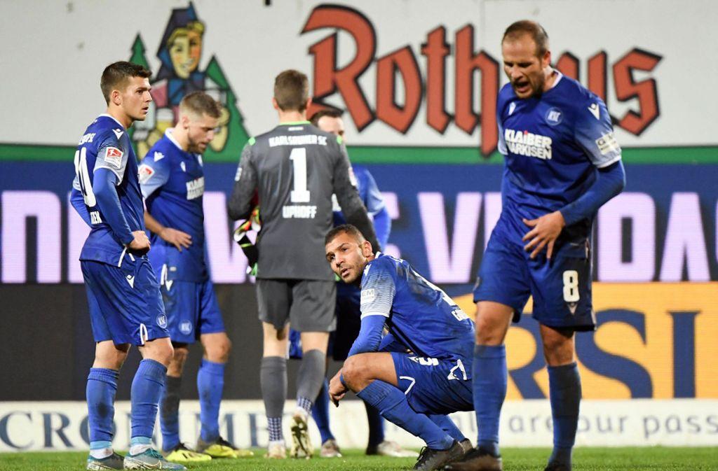 Der Karlsruher SC befindet sich in akuter Abstiegsgefahr. Foto: dpa/Uli Deck