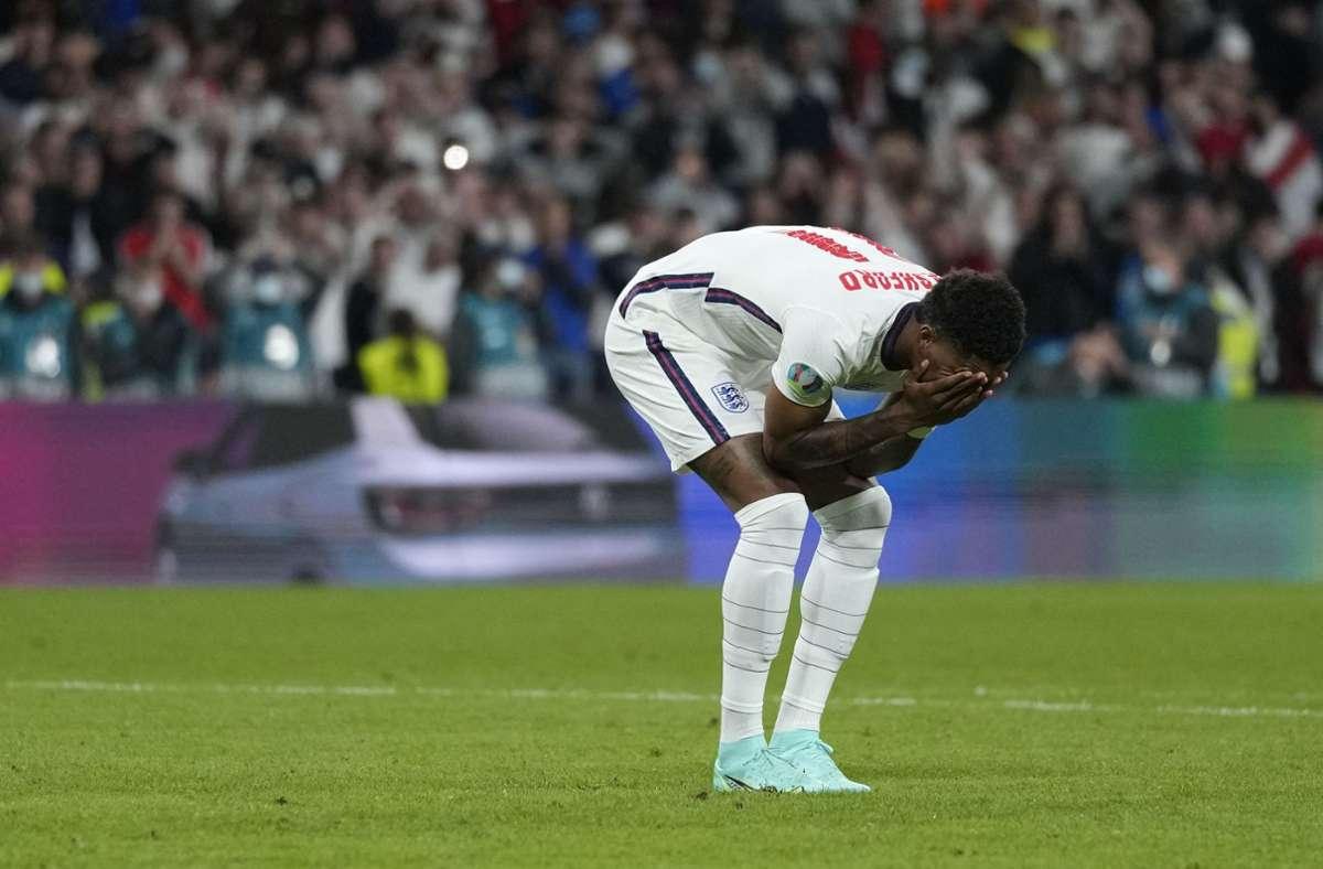 Marcus Rashford war einer der Fehlschützen bei England. Foto: AFP/FRANK AUGSTEIN