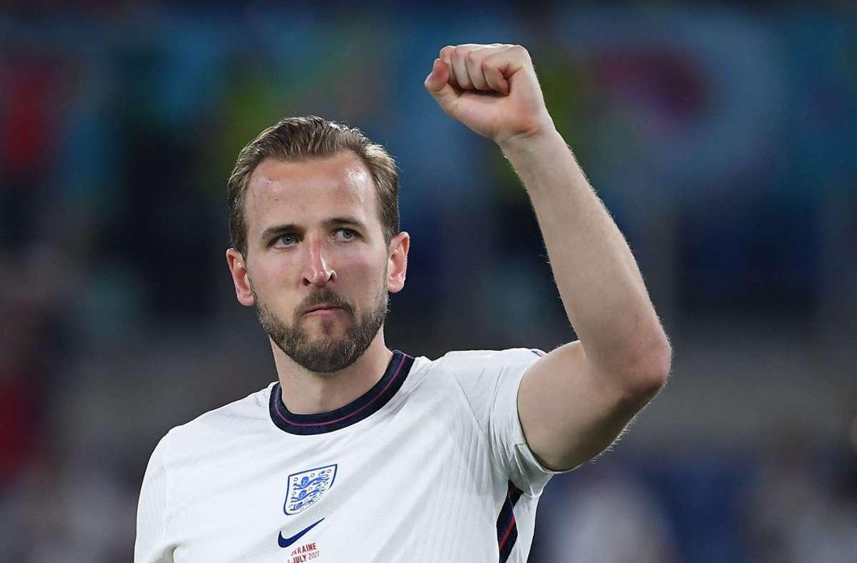 Harry Kane steht mit England im Halbfinale der EM 2021. Foto: AFP/ETTORE FERRARI