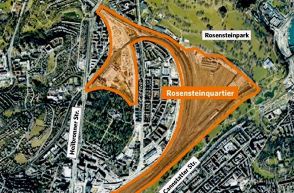 Das neue Stadtquartier Rosenstein reicht vom Bonatz-Bau bis zum Rosensteinpark. Foto: dpa, StZ