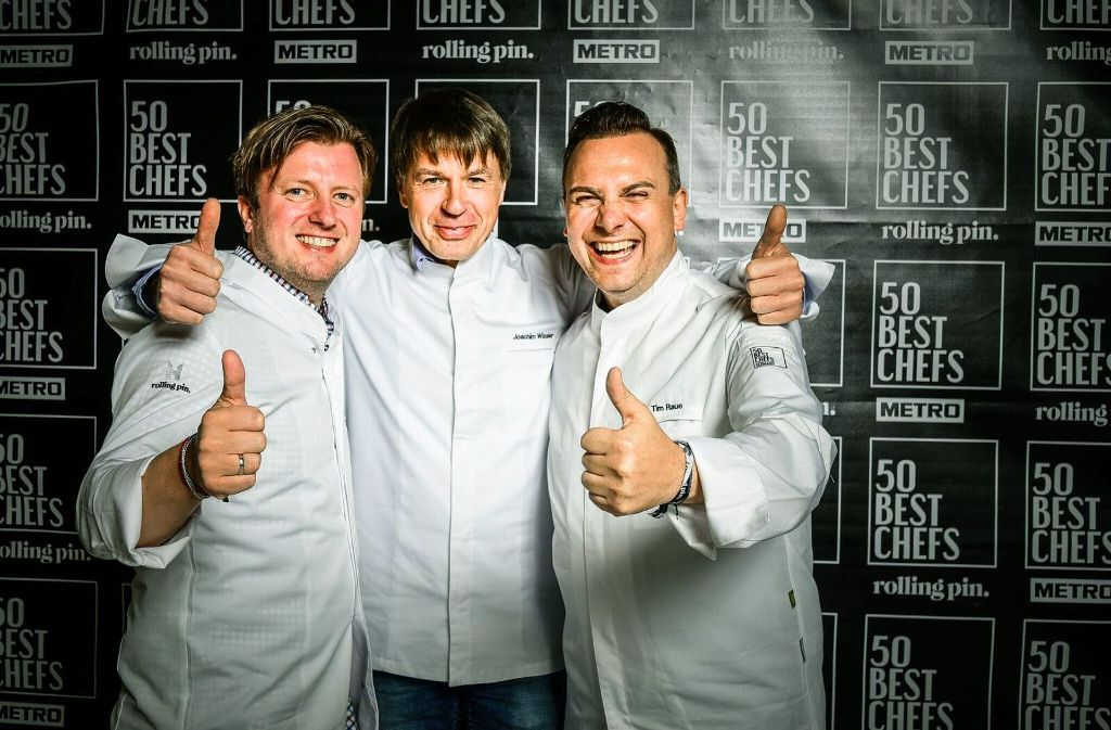 Meister am Kochtopf (von links): Kevin Fehling (3.), Joachim Wissler (1.) und Tim Raue (2.) Foto: PR