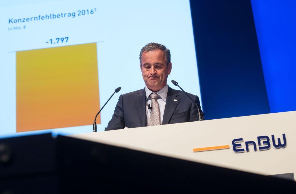 EnBW-Chef Frank Mastiaux präsentiert auf der Hauptversammlung schlechte Zahlen, erntet aber keinen Proteststurm der Aktionäre. Foto: dpa