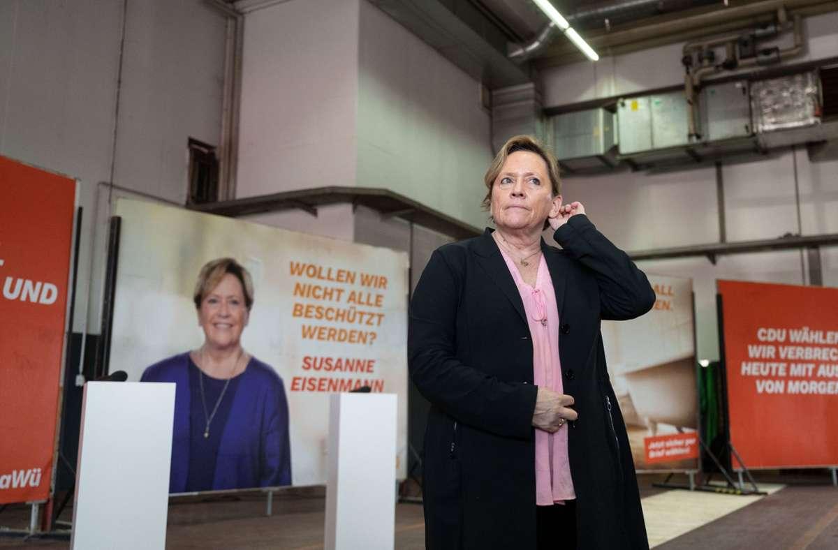 Ihre Wahlplakate haben Susanne Eisenmann viel Spott beschert. Foto: dpa