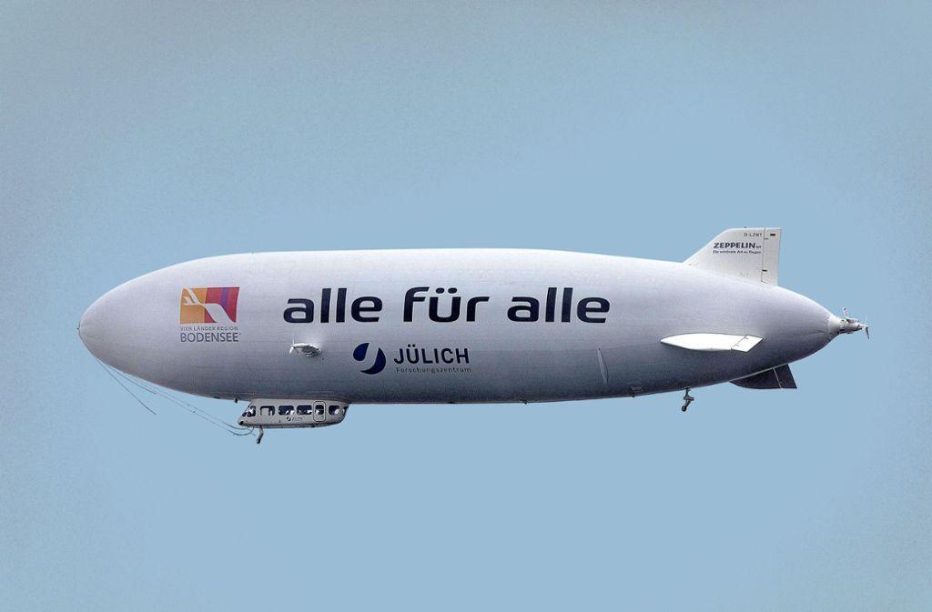 Das Forschungszentrum Jülich, Kooperationspartner der Uni, hatte einen Zeppelin aus Friedrichshafen gechartert. Foto: imago images/Future Image/Robert Schmiegelt