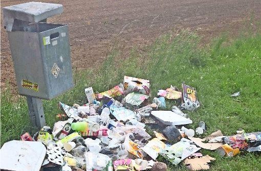 Ein Müllberg inmitten schöner Landschaft
