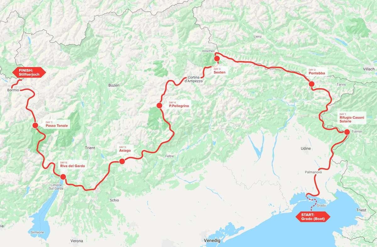 Diese Strecke legen die Trailrunner in den kommenden Tagen zurück. Foto: AlpFrontTrail