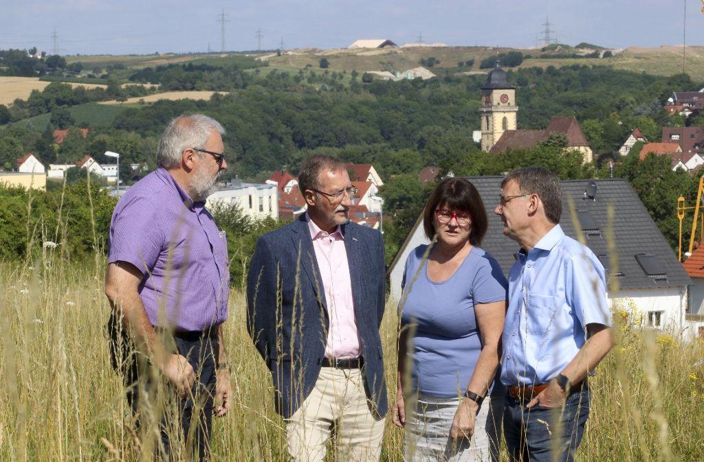 Die Vertreter der IG (von links):Wolfgang Appel, Erwin Wild, Sibylle Appel und Dierk-Christian Vogt. Im Hintergrund sieht man die Schwieberdinger Deponie. Foto: factum/Granville