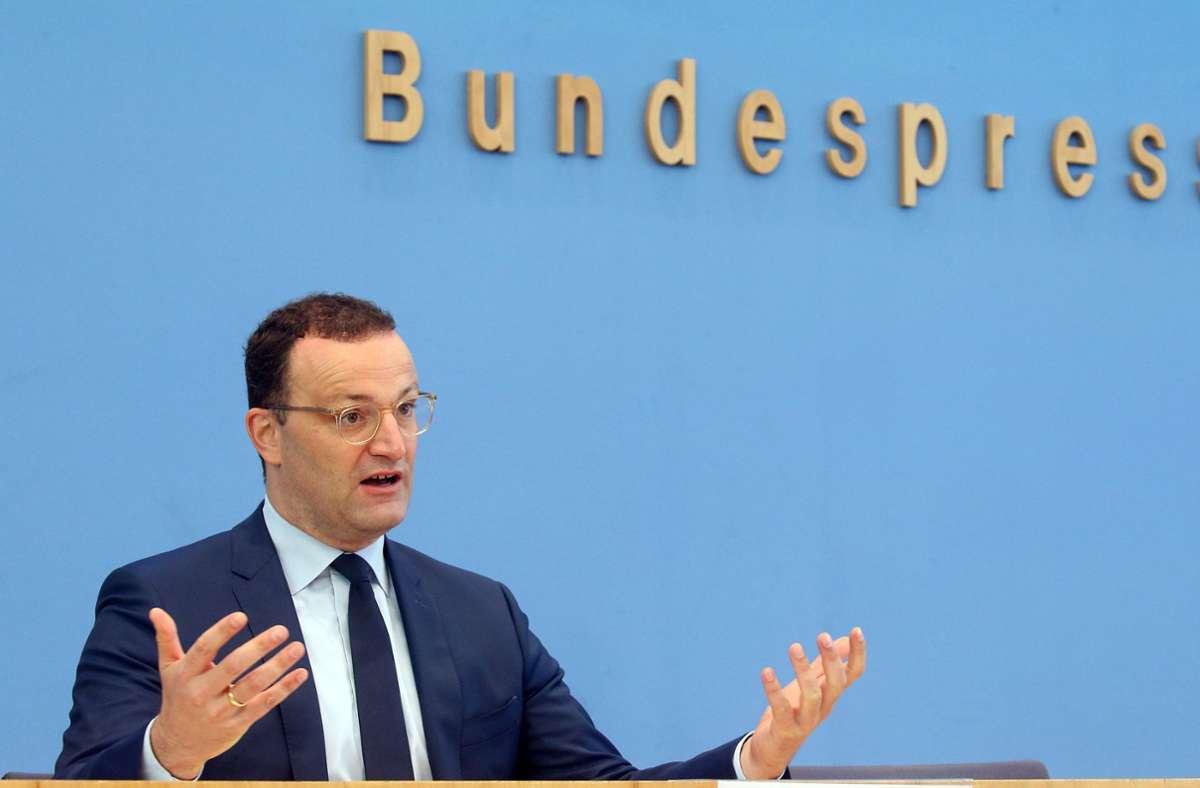 Bundesgesundheitsminister Jens Spahn bei einer Pressekonferenz am Mittwoch. Foto: dpa/Wolfgang Kumm