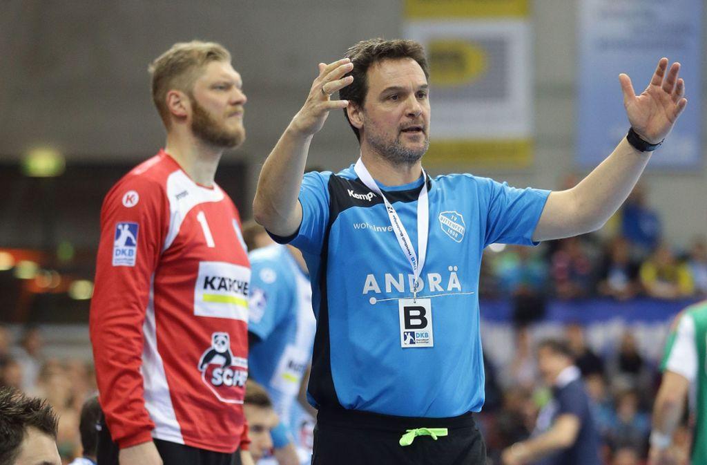 Markus Baur, Handball-Weltmeister von 2007, arbeitete mit Jogi Bitter  (li.) beim TVB Stuttgart zusammen. Foto: