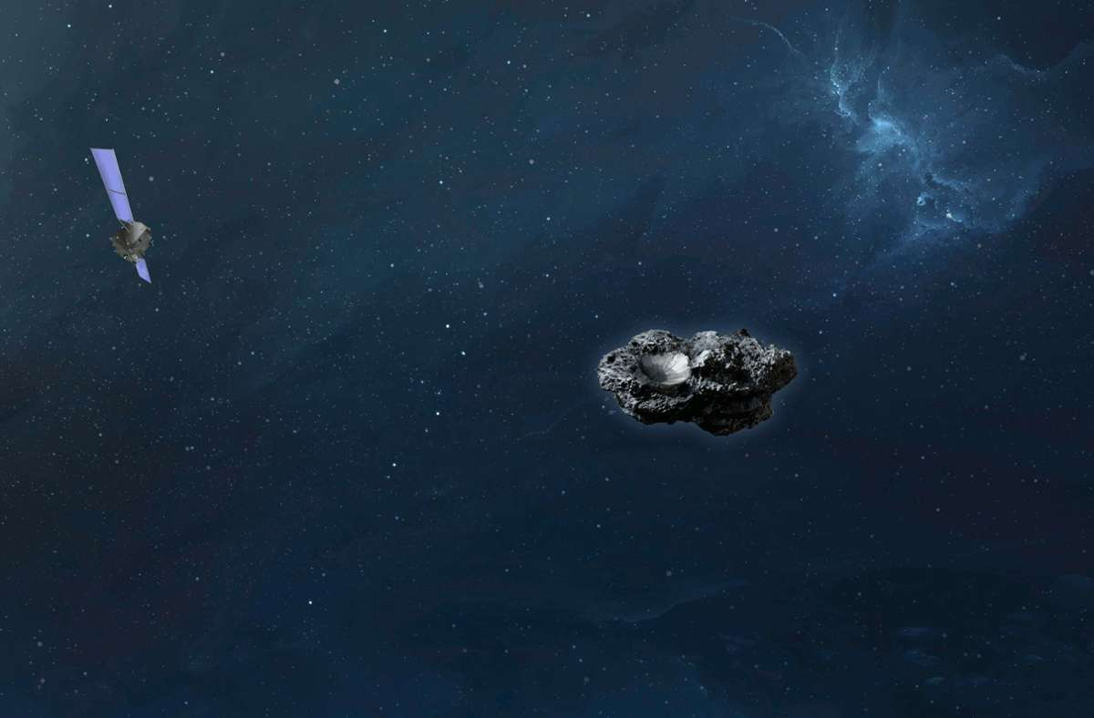 Die Computersimulation zeigt die Raumsonde Hera im Anflug auf den Asteroiden Didymoon. Foto: Mark Fittock OHB/OHB SE/dpa