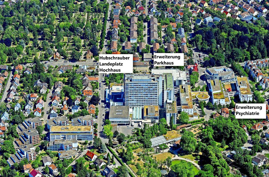 Die Ludwigsburger Klinik wird erweitert. Der Rettungshubschrauber landet künftig deutlich höher als bisher. Foto: Regionale Kliniken-Holding