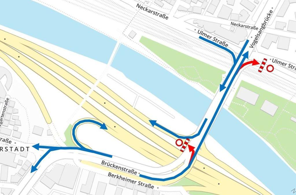 So wird der Verkehr in den kommenden Monaten geleitet. Foto: Stadt Esslingen