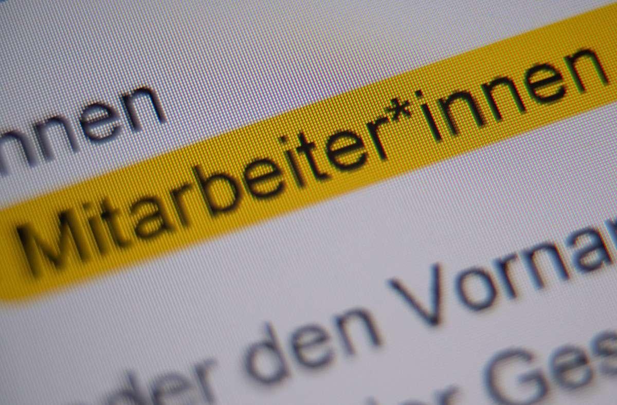 Die Stadt Stuttgart verwendet jetzt den  Gender-Stern. Foto: dpa/Sebastian Gollnow