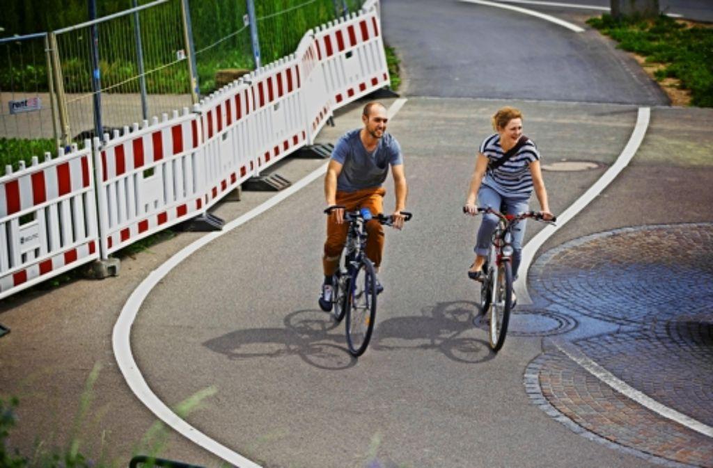 Beim Mineralbad Leuze ist der Fahrradweg während der Bauarbeiten kurviger und steiler als zuvor. Foto: Gottfried Stoppel