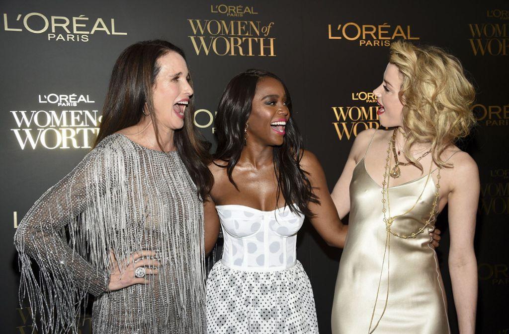 Die L'Oréal Markenbotschafterinnen Andie MacDowell, Aja Naomi King und Amber Heard (von links nach rechts). Foto: AP