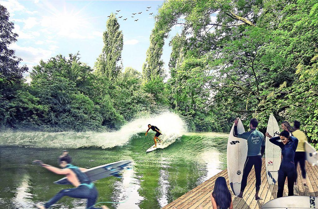 Das Gesundheitsamt hat dem Traum von einer Neckarwelle bereits eine  Absage erteilt. Der Neckar ist zu schmutzig. Die Surfer wollen das aber (noch)  nicht akzeptieren. Foto: Visualisierung: Neckarwelle Stuttgart e.V.