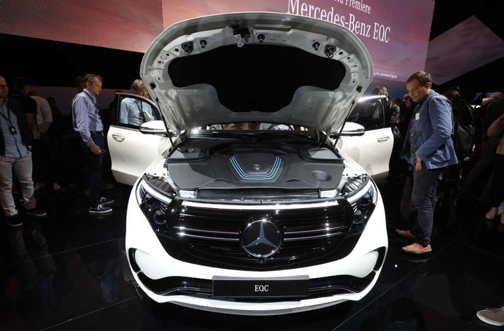 Daimler wolle in diesem Jahr rund 50.000 Fahrzeuge vom Typ EQC produzieren. Foto: AFP/SOREN ANDERSSON