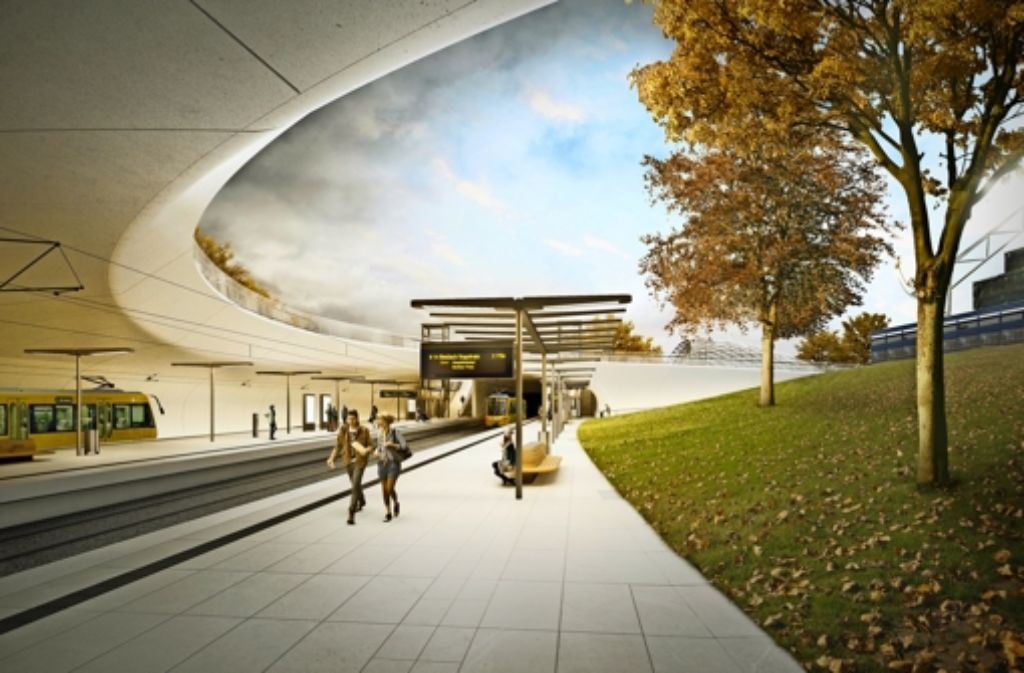 Noch existiert der Neubau der Stadtbahnhaltestelle Staatsgalerie nur als Illustration. Bis er Wirklichkeit wird, müssen sich Fahrgäste auf Umwege einstellen. Foto: Ingenhoven Architekten