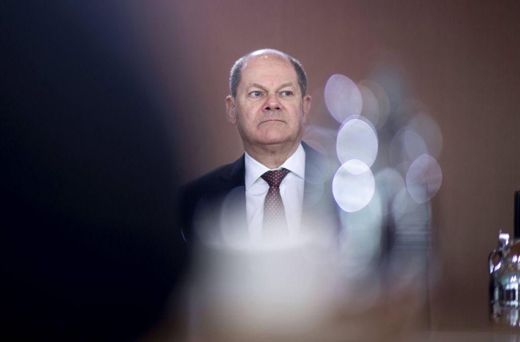 Bundesfinanzminister Olaf Scholz vor der Kabinettssitzung im Berliner Kanzleramt in Berlin. Foto: imago images/IPON/Stefan Boness/Ipon via www.imago-images.de