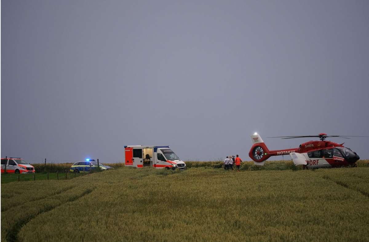 Der lebensgefährlich verletzte Junge wurde mit einem Hubschrauber in ein Krankenhaus geflogen. Foto: SDMG
