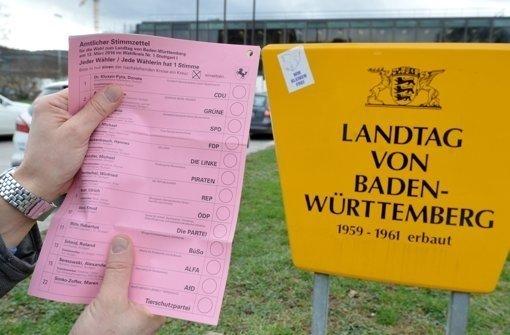 7,7 Millionen Menschen können am 13. März ihre Stimme abgeben. Gelegenheit, sich über die Spitzenkandidaten zu informieren, gibt es am 1. März beim Podium der Stuttgarter Zeitung im Haus der Wirtschaft. Foto: dpa