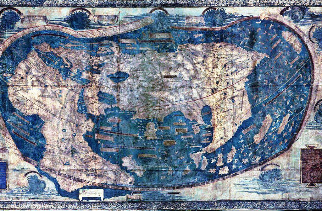 Der deutsche Kartograf Henricus Martellus Germanus fertigte 1490 diese Weltkarte an, die der Darstellung seines Kollegen Martin Behaim aus dem Jahr 1492 ähnelt. Beide verraten starke Einflüsse des  ptolemäischen Weltbildes. Foto: Wikipedia commons/Yale Library Archives