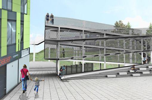 Ein Parkhaus für  Radfahrer  an der S-Bahn