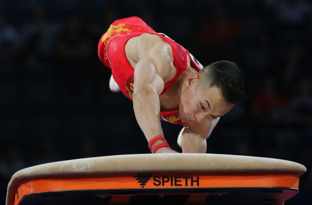 Ruoteng Xiao turnt in Stuttgart kraftvoll wie immer. Foto: Baumann