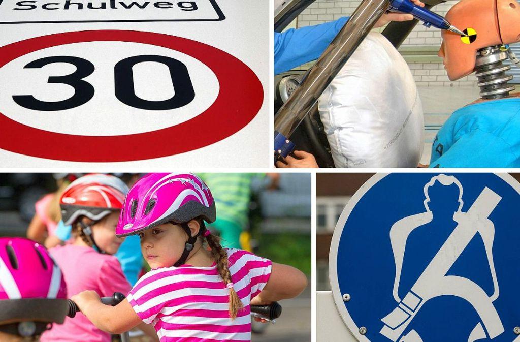 30er-Zone, Airbag, Radhelm, Sicherheitsgurt: Wie gut kennen Sie sich im Straßenverkehr und mit den Verkehrsregeln aus? Foto: dpa
