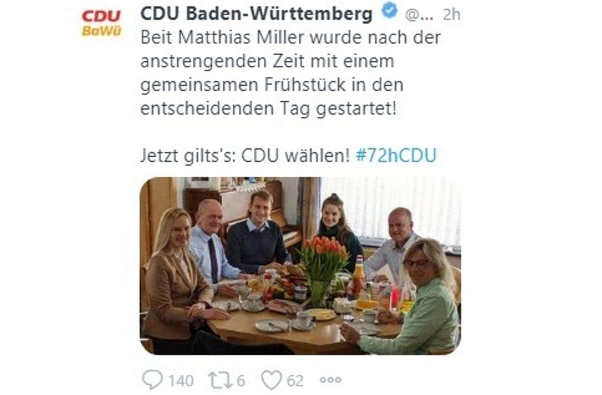 Tweet des Anstoßes: Matthias Miller im Kreis seiner Familie Foto: KRZ/jps