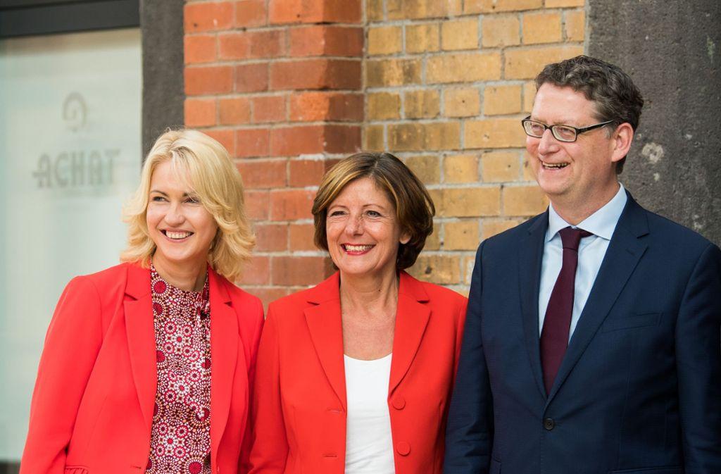 Manuela Schwesig, Malu Dreyer und  Thorsten Schäfer-Gümbel übernehmen Verantwortung in der SPD. Foto: Silas Stein/dpa
