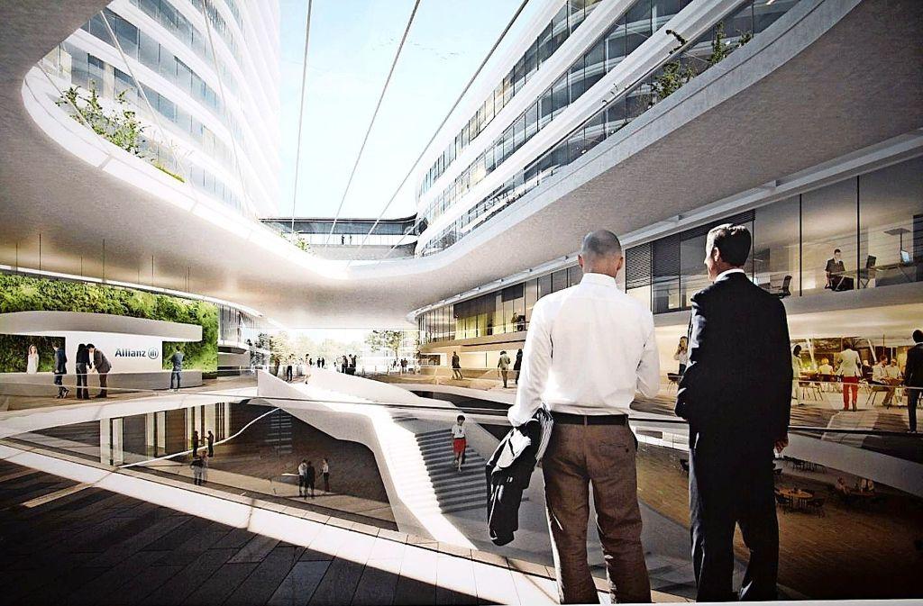 So in etwa könnte die neue Allianz-Zentrale an der Heßbrühlstraße aussehen. Die Bürger können den Entwurf am Dienstag, 12. September, anschauen und diskutieren. Foto: Allianz