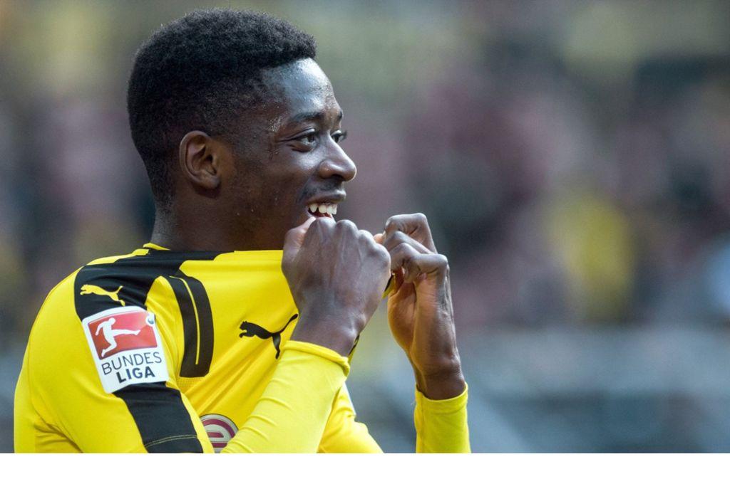 Ousmane Dembele im Dress des BVB: Die Verpflichtung des Offensivkünstlers gehörte zu den Top-Transfers, die Sven Mislintat einfädelte. Foto: dpa