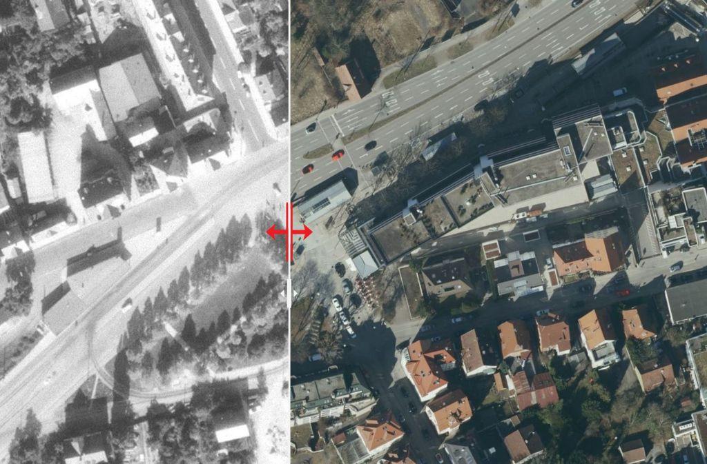 Seit 1955 hat sich der Albplatz in Stuttgart-Degerloch stark verändert. Foto: Stadtmessungsamt/Plavec
