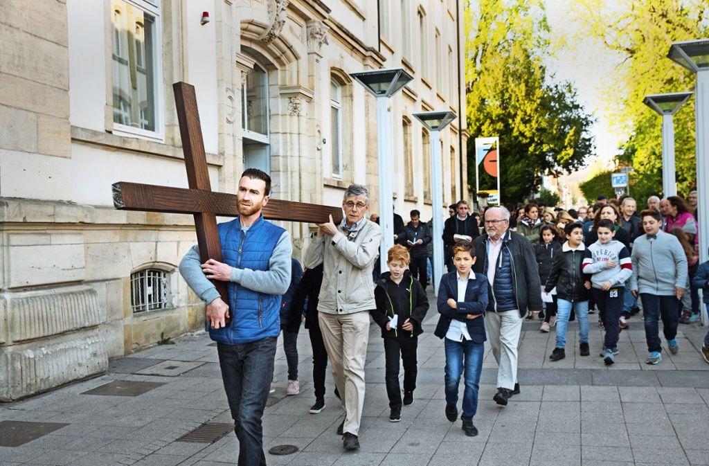 In Göppingen führte der Zug von St. Maria bis zur Friedenskirche. Foto: Horst Rudel