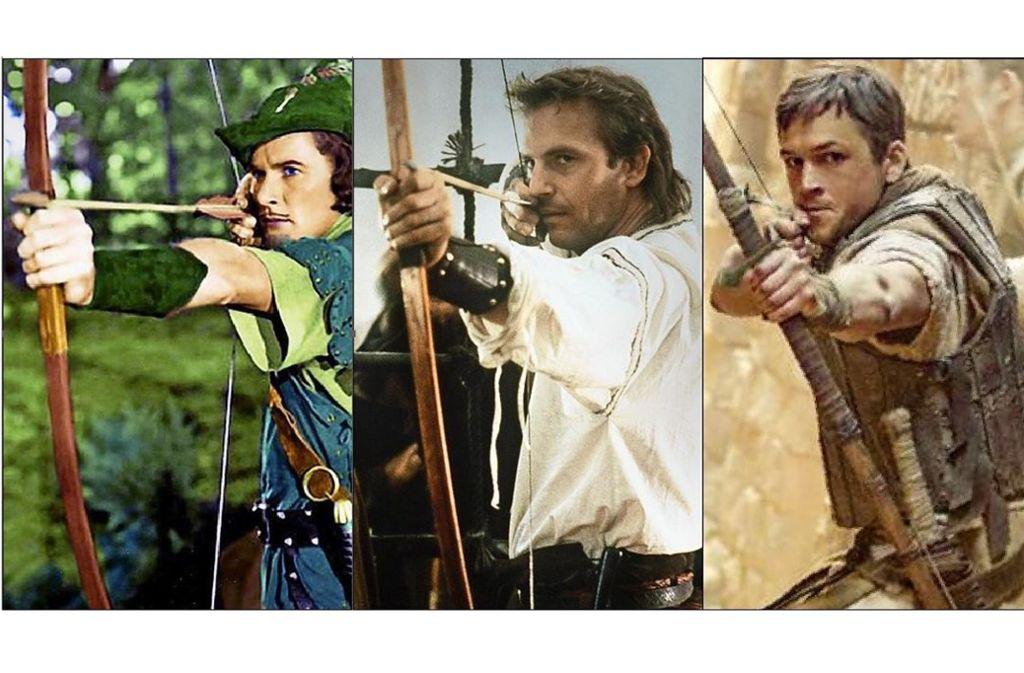 Dreimal Robin Hood (v. li.): Erroll Flynn in Technicolor 1938, Kevin Costner im Piratenhemd 1991, Taron Egerton im Nahost-Kriegseinsatz 2018 Foto: picture-alliance, Studiocanal, ZDF