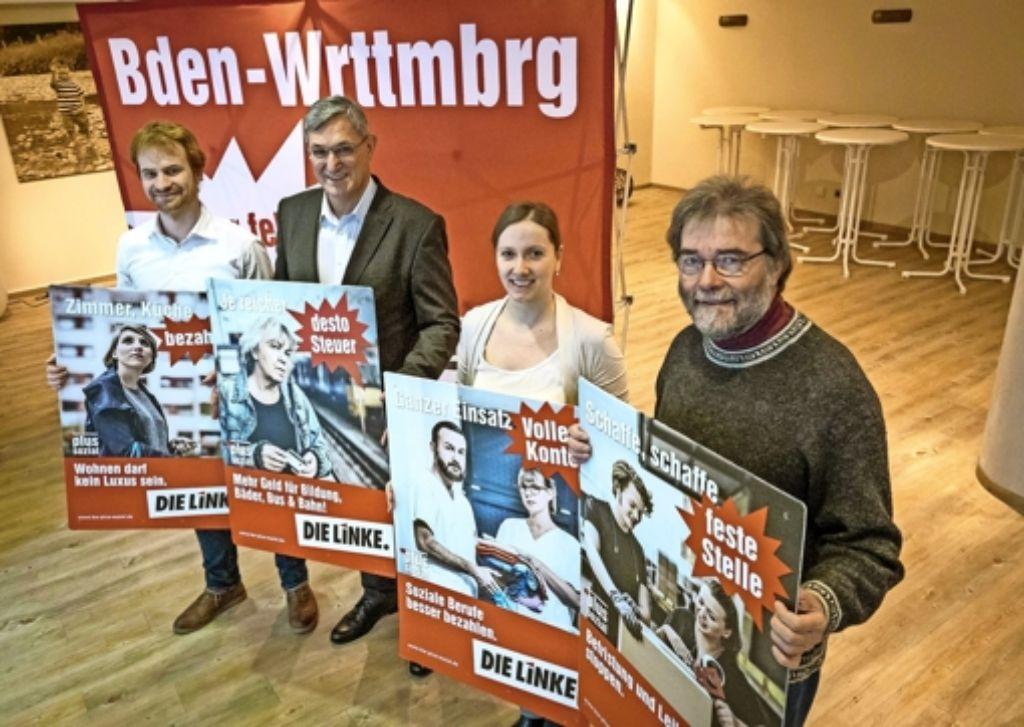 Die Stuttgarter Kandidaten der Linkspartei: Hannes Rockenbauch, Bernd Riexinger, Johanna Tiarks und Reiner Hofmann (von links) Foto: Lichtgut/Max Kovalenko