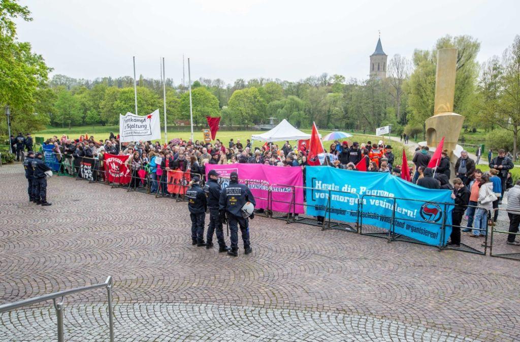 Beim AfD-Bundesparteitag in der Stuttgarter Messehalle werden deutlich massivere Proteste erwartet als am Wochenende beim Landesparteitag in Waiblingen. Foto: 7aktuell.de/Adomat