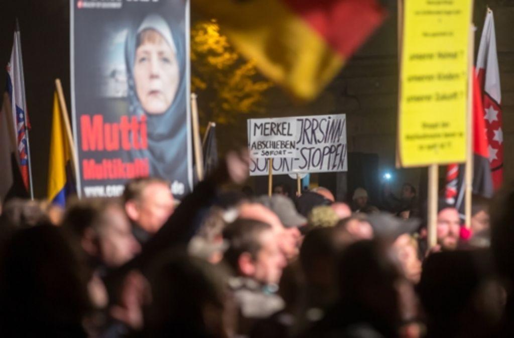 In Erfurt hat am Mittwochabend die AfD eine Kundgebung abgehalten. Foto: dpa-Zentralbild