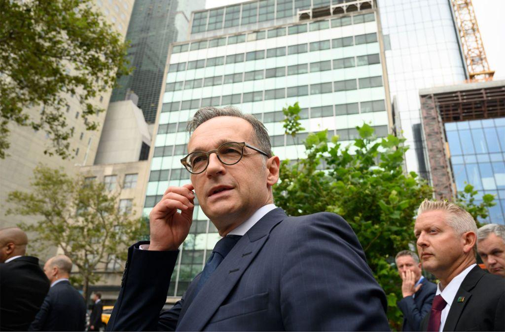 Bundesaußenminister Heiko Maas (SPD) am Dienstag bei seinem Besuch in New York Foto: AFP