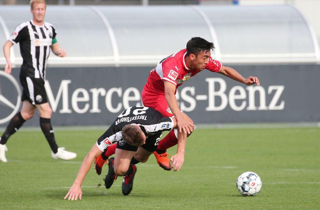 Nicolas Gonzalez und der VfB haben ein Testspiel gegen den SV Sandhausen unter Auschluss der Öffentlichkeit absolviert und mit 3:1 gewonnen. Foto: Pressefoto Baumann