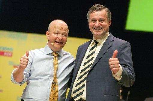 FDP-Landeschef Michael Theurer (links) und FDP-Spitzenkandidat Hans-Ulrich Rülke wollen bei der Landtagswahl einen Politikwechsel einleiten. Foto: dpa