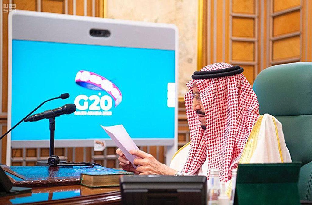 Der saudi-arabische König Salman führt den Vorsitz beim virtuellen G-20-Treffen. Foto: dpa