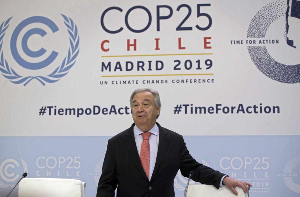 """In Madrid hat die 25. UN-Klimakonferenz begonnen. UN-Generalsekretär António Guterres mahnt die Welt: """"Beendet den Krieg gegen die Natur."""" Foto: AP/Paul White"""